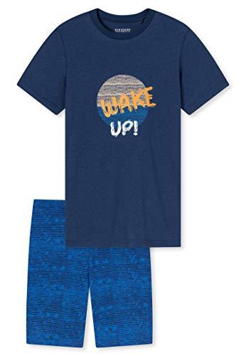 Schiesser Jungen kurzer Schlafanzug - Organic Cotton, dunkelblau, 164