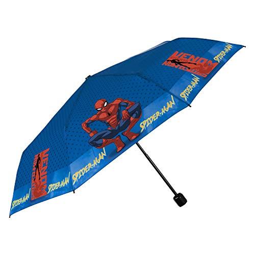 Spiderman Regenschirm Taschenschirm Jungen - Marvel Kinderregenschirm Spider Man - Klein Kinder Schirm Kompakt Leicht Windfest Manuell - Umbrella Schule 7+ Jahren - Durchm 91 cm - Perletti (Venom)