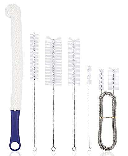 Cneng Juego de limpieza para shisha, cepillo para limpiar la manguera de tu shisha, juego de 6 piezas de accesorios para la tubería de agua, pajitas, botella.
