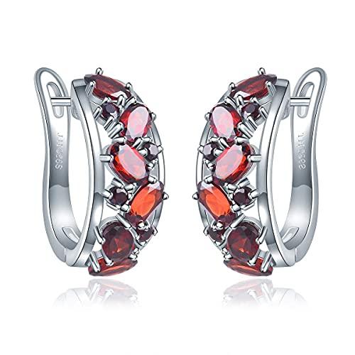 Lohaspie, pendientes de aro para mujer, granate de piedras preciosas naturales, pendientes chapados en rodio de plata de ley 925, regalos de joyería fina para mujer