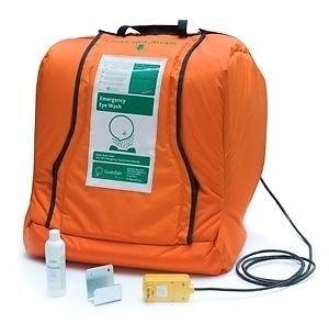 Guardian G1540HTR Plastic Aquaguard Gravity Operated Portable Eye Wash with Heated Orange Insulation Jacket, 16 gal