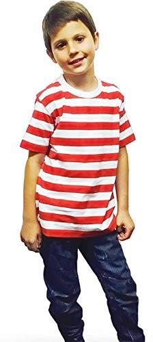 Camiseta Unisex de Rayas Negras y Blancas para niños de 3 a...