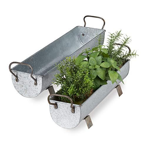 Relaxdays, Silber Blumenkasten Dachrinne, 2er Set, Garten & innen, Vintage Design, Eisen, Metallwannen zum Bepflanzen, 16,5 x 61 x 14 cm