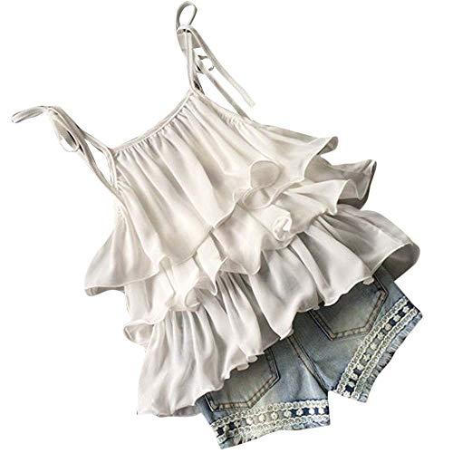 TTLOVE_Mädchen TTLOVE Kleinkind Kinder Baby MäDchen Chiffon Perle Weste Shirt + Jean Shorts Outfits Kleidung Set Perlen Sling RüSchen Top Blumen Denim(Weiß,100)