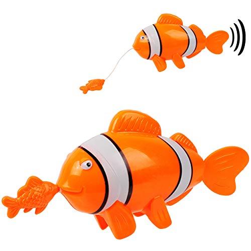 alles-meine.de GmbH Aufziehtier / Badewannenspielzeug - Fisch mit Baby - zum Aufziehen - schwimmt selbst im Wasser - Schwimmtier / aufziehen - für Badewanne / Badespielzeug - was..