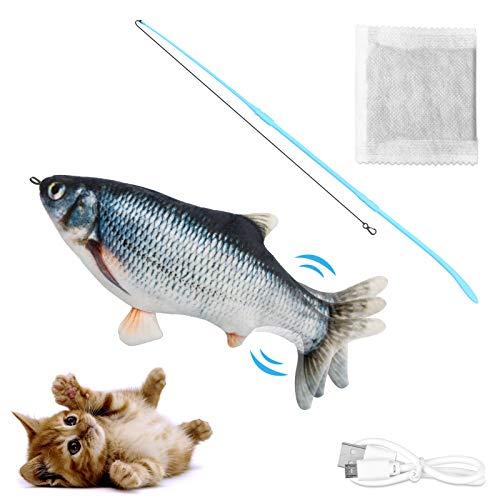 Dyroe Katzenspielzeug Elektrische Fische Katze Teaser Zauberstab, Elektrisch Spielzeug Fisch mit Katzenminze Katzen Spielsachen Interaktive Spielzeug USB Plüsch Fisch für Katze zu Spielen Black