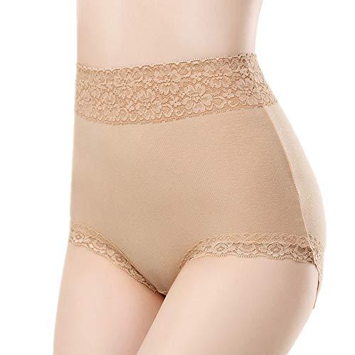 Bragas Algodon Altas Braguitas Mujer Stretch Cobertura Pantalones Sexy Acogedor Ropa Interior De Bragas de algodón Shorts Mujer Apricot,XL