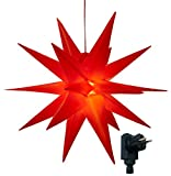 3D Leuchtstern inkl. warm-weißer LED Beleuchtung | für Innen und Außen geeignet | hängend | 7,5 m Zuleitung | ca. 57x44x48 cm (Rot)
