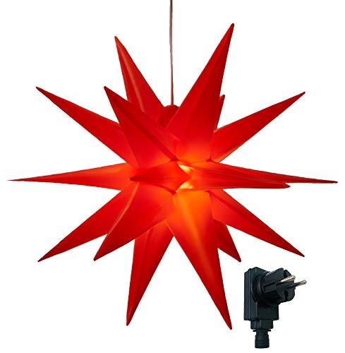 3D Leuchtstern/mit warm-weißer LED Beleuchtung/für Innen und Außen geeignet/hängend / 7,5 m Zuleitung/ca. 57x44x48 cm (Rot)