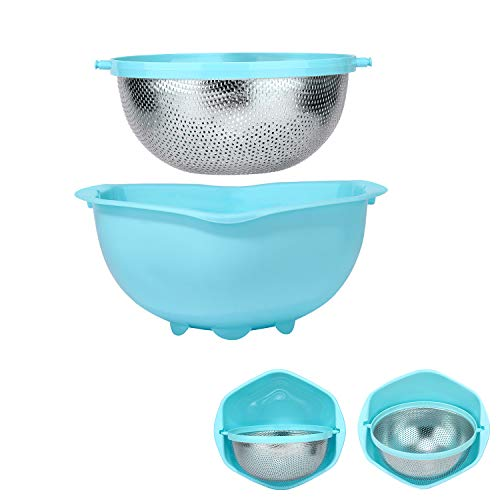 Stainless Colander Rotational Collapsible Self-draining Strainer and Washing Bowl Basket Set for...
