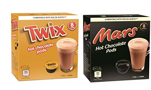 Dolce Gusto Boissons au Chocolat - 16 Capsules (8 Mars + 8 Twix)