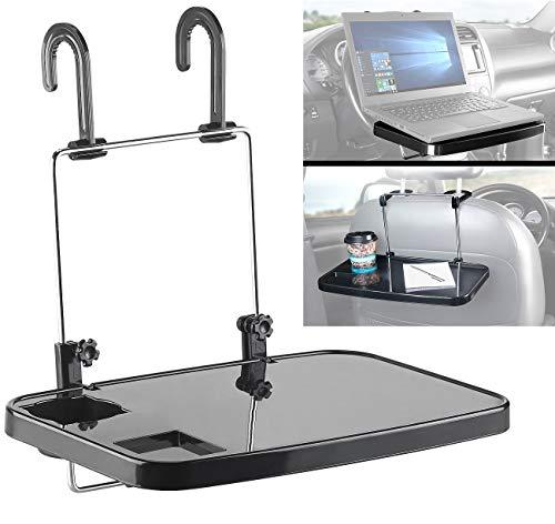 Lescars Autotisch: Kfz-Universal-Klapptisch mit Getränkehalter, für Lenkrad & Kopfstütze (Lenkradtisch)