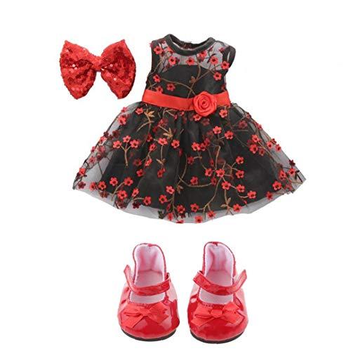 1 par de mini zapatos de muñeca arco zapatos lindos muñeca, adecuado para niña de 18 pulgadas muñecas lindas de América 18 pulgadas ropa de la muñeca de la muñeca del vestir vestido de niña diadema