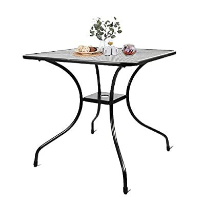 """27.5"""" Patio Bistro Dining Table, Outdoor Cast Iron Aesthetic Square Table, Backyard Balcony Furniture Garden Table with 2'' Umbrella Hole"""