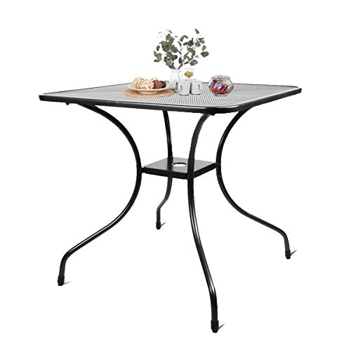 Kerrogee 27.5' Patio Bistro Dining Table, Outdoor Cast Iron Aesthetic Square Table, Backyard Balcony Furniture Garden Table with 2'' Umbrella Hole,Black