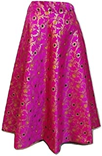 SNEH Women's Brocade Silk Floral Print Skirt (Pink,Free Size)