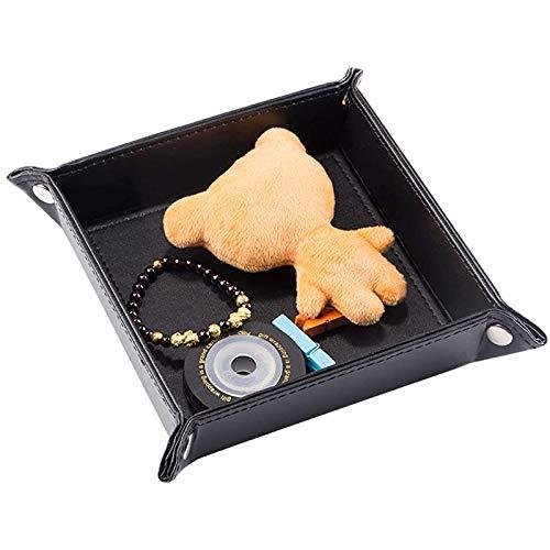 Tablett Leder Schreibtisch Organizer Ablage für Handy Lederablage Tablett Organizer Ablage Aufbewahrungsbox PU Schlüssel Telefon Coin Change Organizer Schwarz Tablett Organizer für Geldbörsen Uhren
