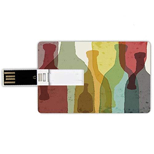 4G USB-Flash-Laufwerke Kreditkartenform Wein Memory Stick Bankkartenstil Abstrakte Komposition mit Aquarell Silhouetten Flaschen Wein Whisky Tequila Vodka Dekorativ, Mehrfarbig wasserdicht Stift Do.