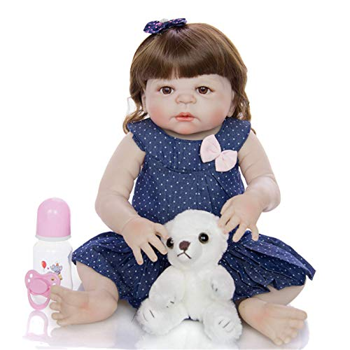 XYSQWZ Muñeca De Simulación Reborn Baby 55cm Vestido De Lunares Azules Y Blancos Cabello Largo Muñeca De Alta Simulación Niña con Chupete Y Botella De Leche Play House Doll Regalo De Cumpleaños 1214