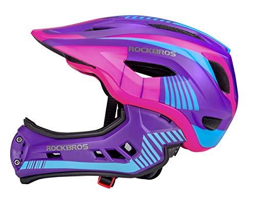 ROCKBROS Kinderhelm Integriert Fahrradhelm Kinder Jugend Fullface Helm mit Abnehmbarem Kinnschutz Downhill Helm Lila S 48-53cm