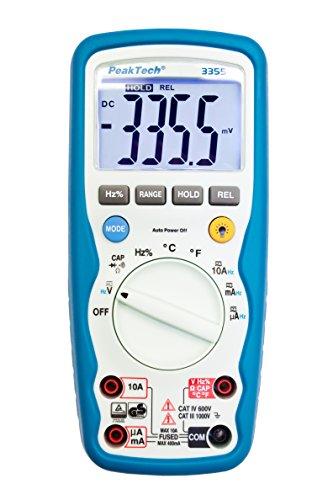 PeakTech 3355 - Digital Multimeter, Wasserdicht (IP67), LCD-Display, 4000 Counts, Handmultimeter, Autorange, REL-Data Hold, Spannungsmesser, Durchgangsprüfer, Messgerät - CAT III 1000 V, P 3355