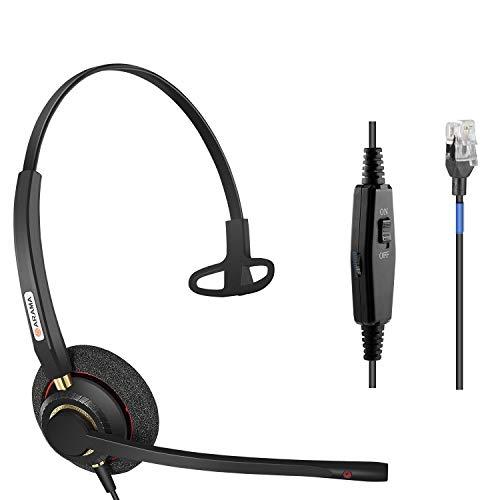 Arama Phone Headsets RJ9 with Noise Cancelling Mic Compatible with Polycom VVX311 VVX410 VVX411 VVX500 Mitel 5320e Avaya 1408 1416 5410 ShoreTel 230 420 480 NEC Landline Phones (A800S)