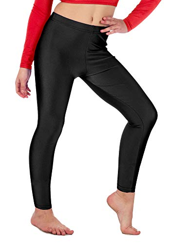 Re Tech UK - Mädchen Leggings - für Gymnastik, Tanzen & Ballett - glänzend - elastisch - Schwarz - 7-8 Jahre