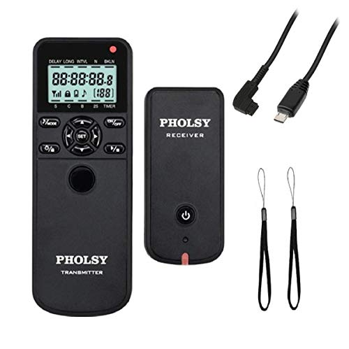 PHOLSY Wireless Timer Remote Control with Intervalometer and HDR for Sony a1, a9, 9M2, a7M2, a7M3, a7RM2, a7RM3, a7RM4, a3500, a6600, a6500, a6400, a6100, RX100M4, RX100M6, RX100M7, RX10M4, HX99, a68