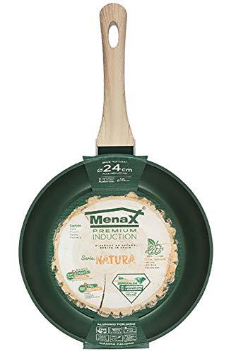 Menax Natura - Padella Antiaderente - Padella in Alluminio Forgiato con Manico Soft Touch - Full Induzione - Verde Smeraldo - Ø 24 cm