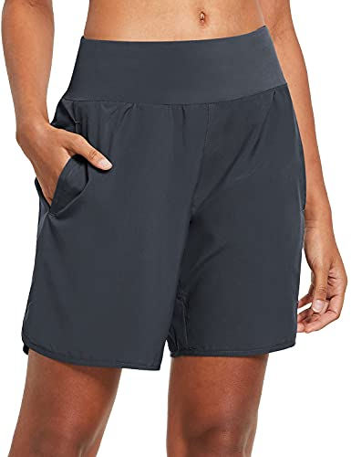 BALEAF Women's 7 Inches Long Running Shorts Back Zipper Pocketed Lounge Sport Gym Shorts with Liner Grey Size L