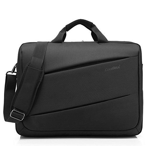 CoolBELL 17,3 Zoll Laptoptasche multifunktional Aktentasche Herren Messenger Bag mehrfach Umhängetasche Arbeitstasche Handtasche mit Schultergurt für MacBook Lenovo/Business,Schwarz