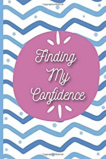 Finding My Confidence: 30-day undated double page spread guided journal with daily self-confidence questions and goal setting ideas, with a blue and purple design