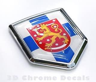 Finland Flag Emblem Chrome Car Decal Sticker