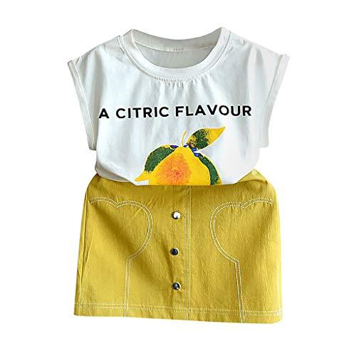 Baby Kinder Mädchen Obst Drucken Tops T-Shirt Solide Rock Set Outfits Kleider
