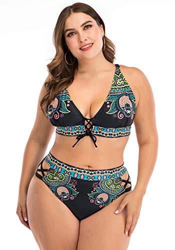 FEOYA - Bañador de Mujer Tallas Grandes con Aros Push up Conjunto de Bikini Reductor Atractivo Elástica Playa Vacación Traje de Baño