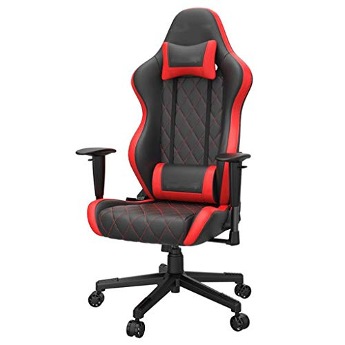 M-YN Gaming Stuhl Bürostuhl Rennfahrer-Computer-Stuhl-Liebling Bürostuhl PU-Leder-Gaming-Stuhl Schwenkstuhl mit Rückenlehne und Sitzhöhe Einstellbarer Schwenkwippe (Color : Black+red)