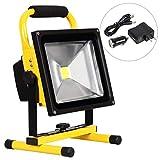 Reflector de luz de trabajo LED inalámbrico, luz de trabajo recargable portátil, luces de seguridad de luz de emergencia IP65, baterías de iones de litio incorporadas con soporte, lámpara de trabajo