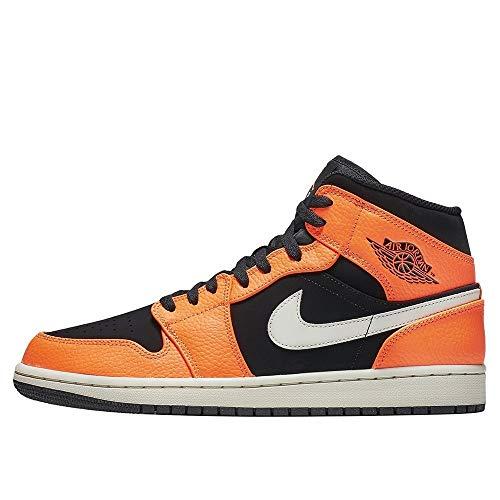Nike Air Jordan 1 Mid, Zapatos de Baloncesto Hombre, Negro (Black/Cone/Lt Bone 062), 42 EU