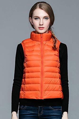 SWAQS Daunenjacke Winter Damen Ultra Light Duck Daunenweste Jacke Herbst Winter Ärmelloser Mantel XL Orange