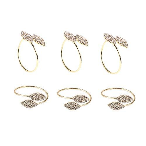 Kitchen-dream Anillos de servilleta, Anillos de servilleta dorados Anillos de servilleta de diamantes de imitación Forma de hoja para la cena del banquete de boda, juego de 6