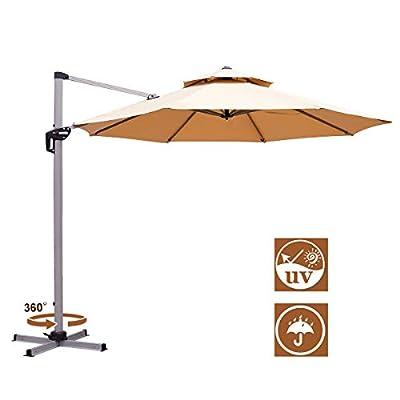 AECOJOY 12FT Patio Umbrella Double Top Cantilever Umbrella Outdoor Offset Umbrella Hanging Umbrella with Easy Tilt and 360° Rotation for Garden Deck Pool Patio, Beige