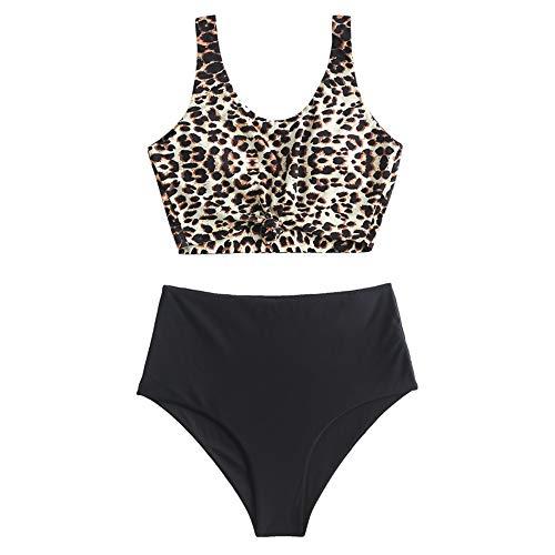 ZAFUL Zweiteiliger verknotet Tankini Beachwear Set, einfarbiger gepolsterter Badeanzug mit Schulterträger & Badehose mit Tropisches Blattmuster für Damen (Leopardenmuster, M)