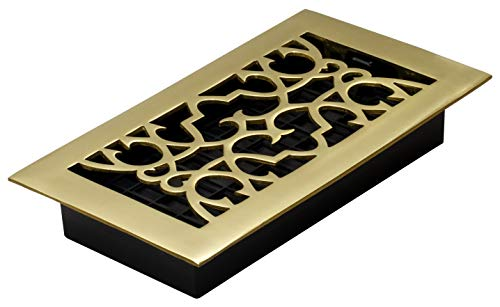 Decor Grates A408 4-Inch by 8-Inch Victorian Floor Register, Solid Brass -  Decor Grates (Import)