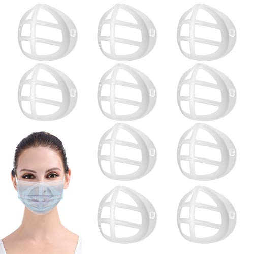 3D Mask Support Silicone Internal Face Bracket Holder Frame for Mouth Nose Breathing Smoothly, Protect Lipstick Lips, DIY Accessories, Reusable Washable 10PCS Clear