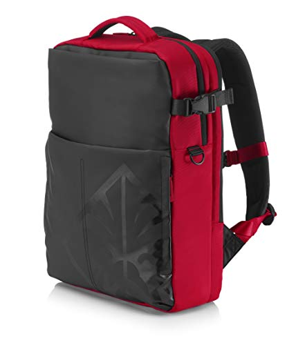 """HP OMEN 4YJ80AA - Mochila gaming para portátil hasta 17,3"""" (Paneles acolchados, tejido de alta resistencia, bolsillos ocultos), color negro y rojo"""