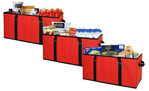 Earthwise Deluxe - Juego de 3 cajas de compras plegables y reutilizables con caja de almacenamiento reforzada, color rojo
