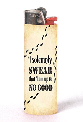 I Solemnly Swear I Am Up to No Good Quote Design Print Image Artwork 2 Pack Vinyl Decal Wrap Skin Stickers by Trendy Accessories for Bic Lighters
