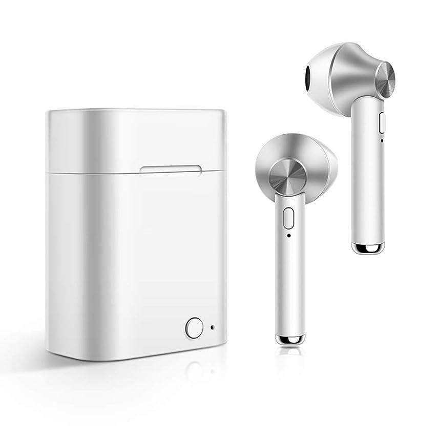 成功した電気的それワイヤレスBluetoothヘッドセットインイヤーヘッドフォンワイヤレスヘッドセットステレオミニヘッドフォン充電ケースによるノイズキャンセルBluetoothヘッドフォン,銀