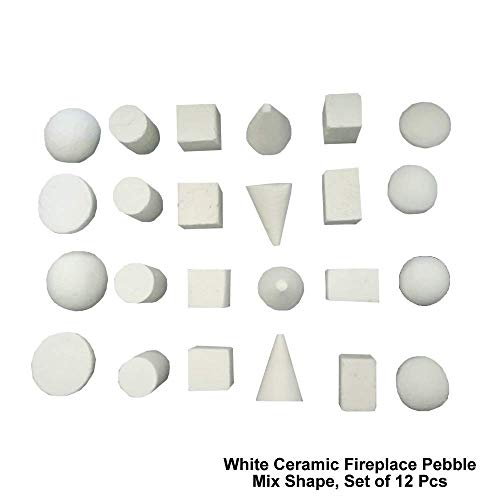 24 Piece Set of Mix Shape Light Weight Ceramic Fiber Pebbles for All Types of Indoor, Gas Inserts, Ventless & Vent Free, Propane, Gel, Ethanol, Electric or Outdoor Stoves, Fireplaces & Fire Pits.