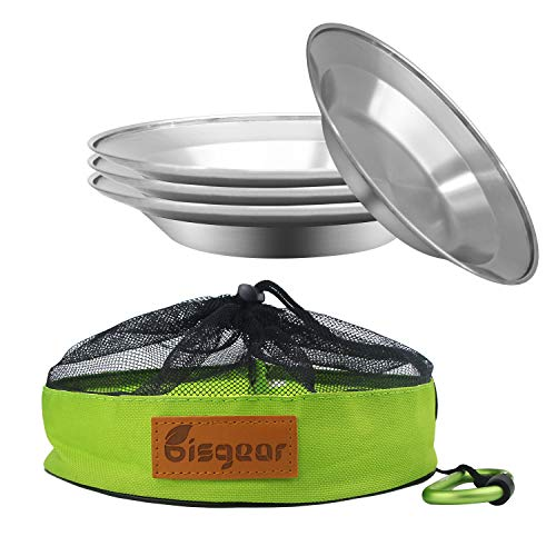 Camping Stainless Steel 8.5 inch Kitchen Dinner Plate Pack of 4 Mess kit - Bisgear Outdoor Dinnerware Set BPA Free Round Plates for Backpacking, Picnic & BBQ (8.5